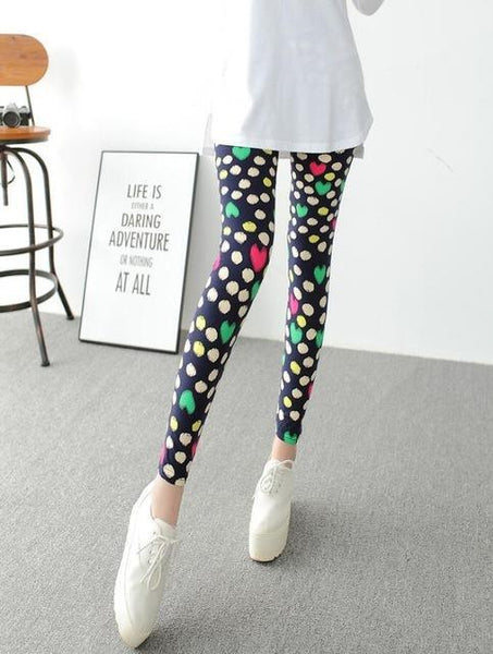 PINkart-USA Online Shopping K092 Colorful Love / One Size Rose Flower Printed Leggings Fashion Best Quality Women Lady Slim High Elastic Cotton Pants