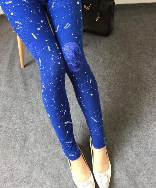 PINkart-USA Online Shopping K092 Constellation / One Size Rose Flower Printed Leggings Fashion Best Quality Women Lady Slim High Elastic Cotton Pants