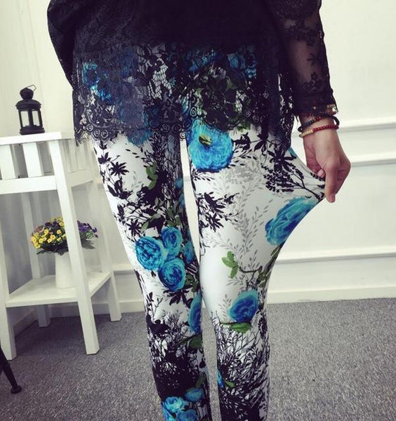 PINkart-USA Online Shopping K092 Orchid / One Size Rose Flower Printed Leggings Fashion Best Quality Women Lady Slim High Elastic Cotton Pants