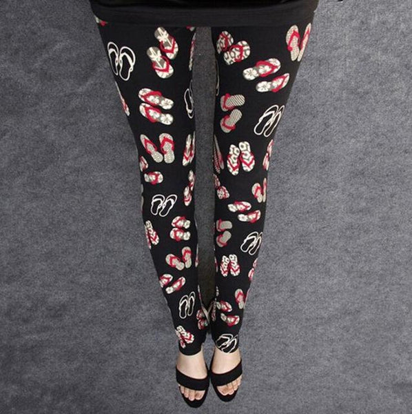 PINkart-USA Online Shopping K092 Red slippers / One Size Rose Flower Printed Leggings Fashion Best Quality Women Lady Slim High Elastic Cotton Pants