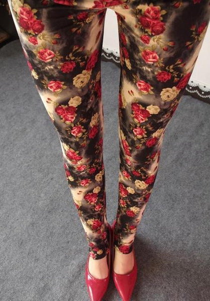 PINkart-USA Online Shopping K092 Small red roses / One Size Rose Flower Printed Leggings Fashion Best Quality Women Lady Slim High Elastic Cotton Pants