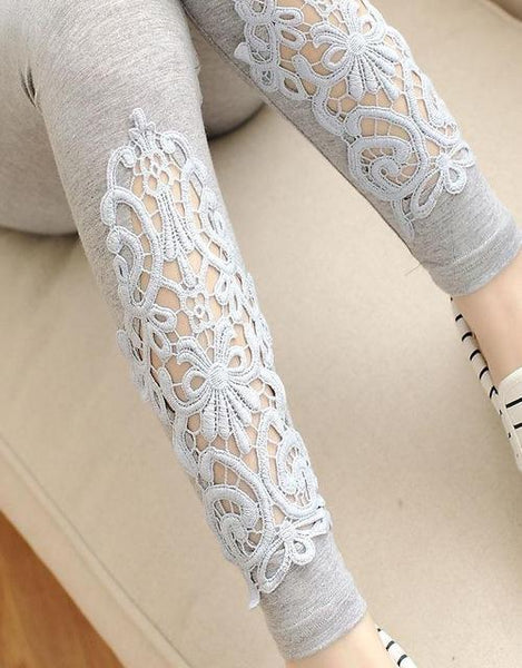 PINkart-USA Online Shopping K55Light Gray Hollow / One Size Spring Autumn Thin Women Cotton Knitted Short Leggings Hollow Out Lace Diamond Print Flower Thin