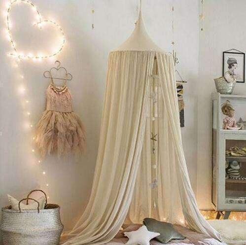 PinKart-USA Online Shopping khaki / 240cm 240Cm Baby Mosquito Net Photography Props Baby Room Decoration Home Bed Canopy Curtain Round Crib