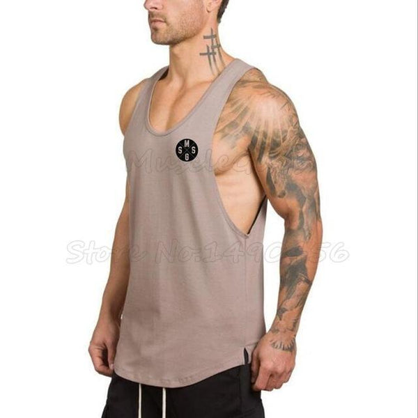 PINkart-USA Online Shopping Khaki / L Brand Clothing Gyms Stringer Tank Tops Mens Sleeveless T Shirts Man Summer Cotton Bodybuilding
