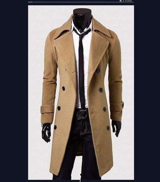 PinKart-USA Online Shopping Khaki / L European Style Double Breasted Coat Lengthened Simple Luxury Wool Coat Male
