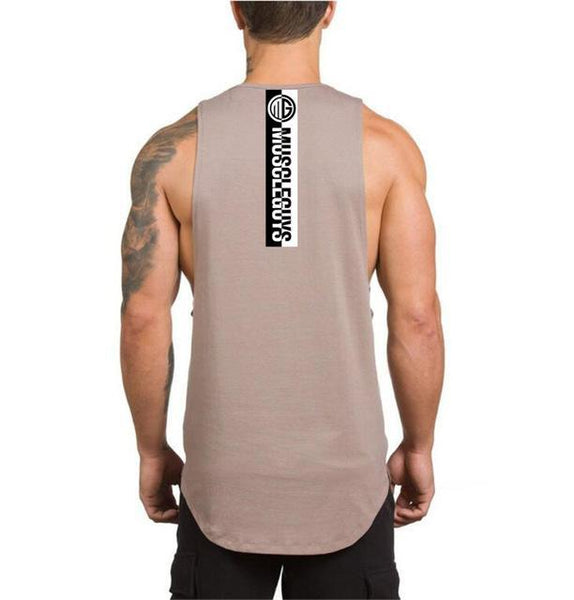 PINkart-USA Online Shopping Khaki / L Muscle Guys Fitness Tank Top Men Bodybuilding Clothing Men Sleeveless Shirt Golds Vests Cotton Gyms