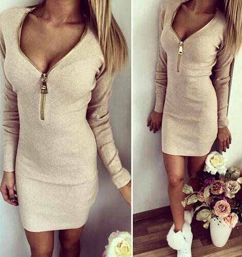 PINkart-USA Online Shopping Khaki / S Autumn Winter Women Mini Dresses Stretch Zipper Bodycon Dress Long Sleeve V-Neck Knit Dress Party