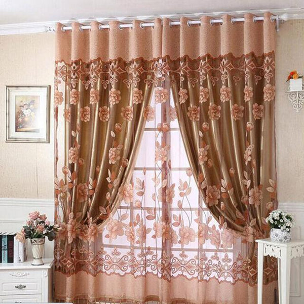 PINkart-USA Online Shopping Khaki / W100cm L250cm 1 Piece Fashion Roman Embroidered Tulle Curtains Printed Burnout Polyester For Living Room Bedroom