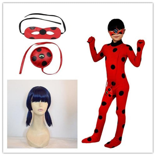 Kids Miraculous Ladybug Costumes For Girl Wig Bag Halloween Party Adult Girls Suit Spandex Onesie