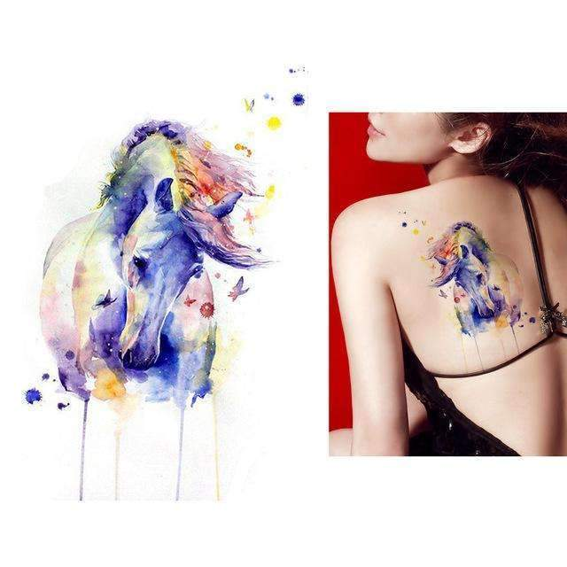 2b448e8d5 PinKart-USA Online Shopping KM083 1X Diy Body Art Temporary Tattoo Colorful  Animals Watercolor Painting