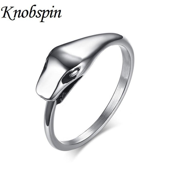 PINkart-USA Online Shopping Knobspin Fashion Ouroboros Snake Rings In Silver Color Unique Cool Jewelry Stainless Steel Male