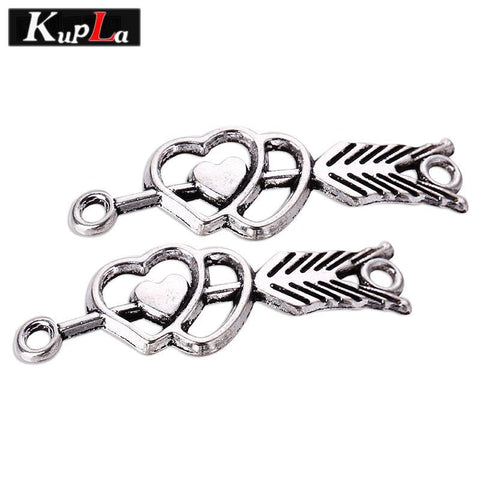 PINkart-USA Online Shopping Kupla Vintage Silver Arrow Heart Charms Metal Retro Arrow Charms Connectors For Bracelets Jewelry