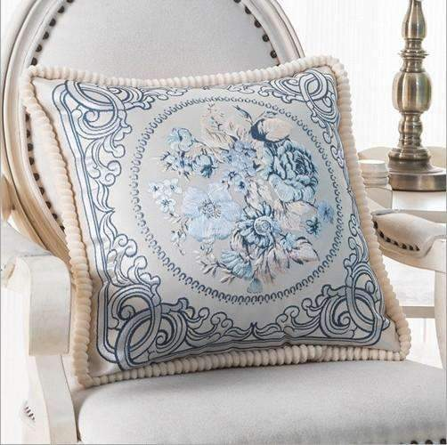 PinKart-USA Online Shopping L / 45x45m only cover Luxurious Embroidery Velour Home Decor Cushion Decoration Lace Pillow / European Velvet Sofa