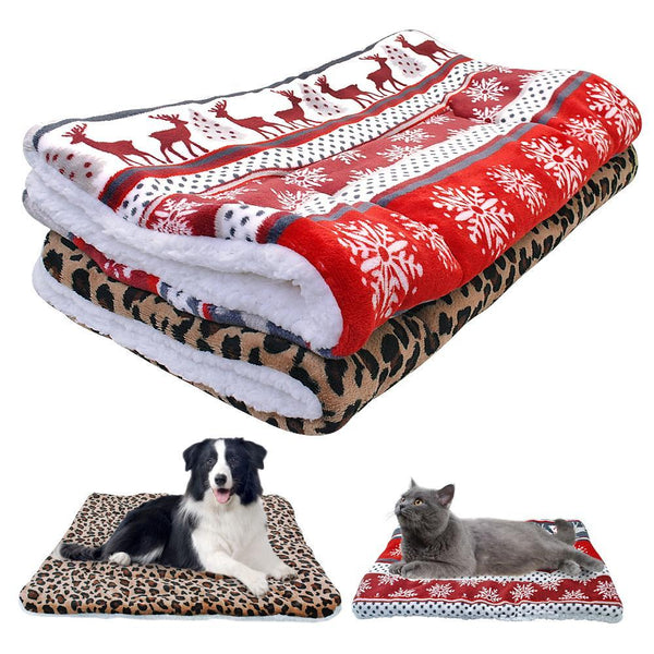 PINkart-USA Online Shopping Leopard / L Warm Winter Dog Bed Mat Puppy Cat House Kennel Small Medium Large Dogs Beds Christmas Sleeping