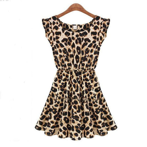 PINkart-USA Online Shopping leopard / S Hot Sale Summer Nightclub Sexy Printed Dress Women Sleeveless Round-Neck Leopard Dresses Female