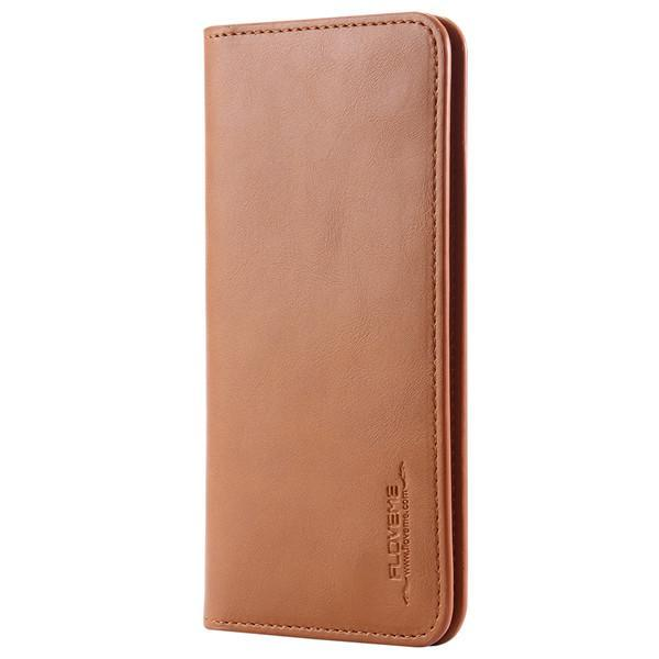 PinKart-USA Online Shopping Light  Brown Pu Leather Wallet Purse Universal Case For Iphone 7 6 6S Plus 8 8S With Card Slot Full Protective