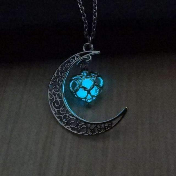 PinKart-USA Online Shopping Light Bule Glowing In The Dark Pendant Necklaces Silver Plated Chain Necklaces Hollow Moon & Heart