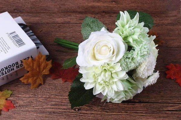 PinKart-USA Online Shopping light green Silk Flower Wedding Bouquet Roses Dahlias Artificial Flowers Fall Vivid Fake Leaf Wedding Flower