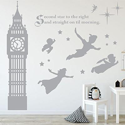 Peter Pan Scene Silhouettes Removable Wall Stickers Stars Big Ben