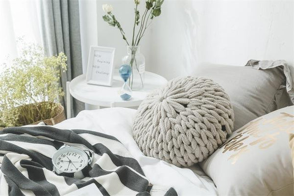 PINkart-USA Online Shopping Light Grey / Diameter 40cm Fashion White Crochet Round Cushions Pillows For Sofa Bed Solid Handmade Knitted Big Ball Home