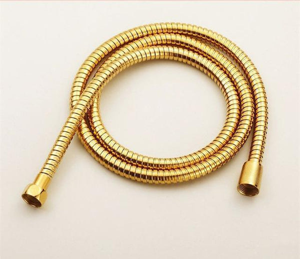 PINkart-USA Online Shopping Light Yellow Plumbing Hoses Stainless Steel Gold 150Cm Tube Shower Hose Flexible Shower Head Replacement Part