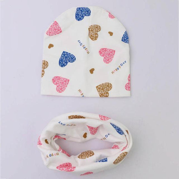 PINkart-USA Online Shopping love 1 Set Cotton Baby Hat Scarf Solid Color Children Caps Scarves Autumn Winter Kids Boys Girls O Ring