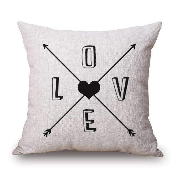 PinKart-USA Online Shopping Love Arrow / 45x45cm Romantic Modern Simple Beige Love Star Pattern Pillow Case Deer And Panda Chair Square Throw
