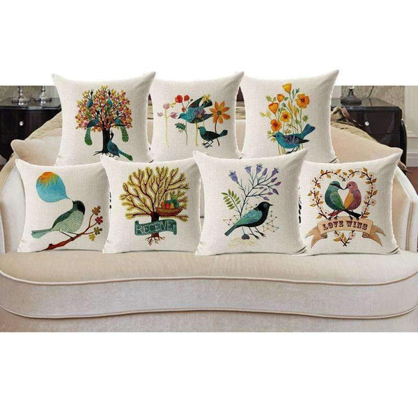 PinKart-USA Online Shopping Love Wins Pillow Case Beautiful Flower And Bird Cotton Linen Pillowcase For Bedroom Chair Seat Throw