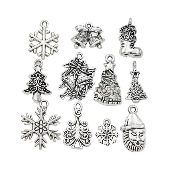 PinKart-USA Online Shopping M043 Christmas Charm Antique Silver Plated Snowflake Charms Pendants Fit Bracelet Jewelry Making