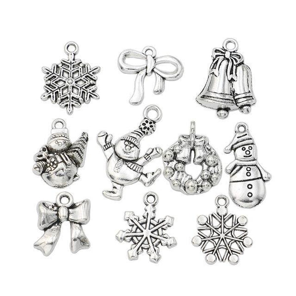 PinKart-USA Online Shopping M044 Christmas Charm Antique Silver Plated Snowflake Charms Pendants Fit Bracelet Jewelry Making