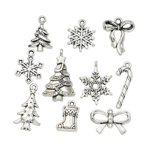 PinKart-USA Online Shopping M045 Christmas Charm Antique Silver Plated Snowflake Charms Pendants Fit Bracelet Jewelry Making