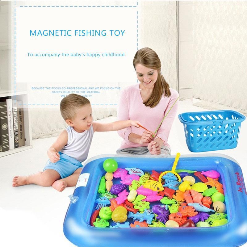 Magnetic Fishing Toy Game With Inflatable Pool Magnetic Fishing Toy Rod Net Set For Kids Child