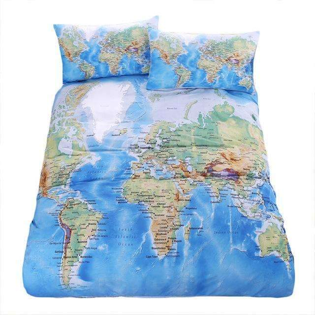 PinKart-USA Online Shopping Map Duvet Cover / AU Single World Map Bedding Set Vivid Printed Blue Bed Duvet Cover With Pillow Covers Soft