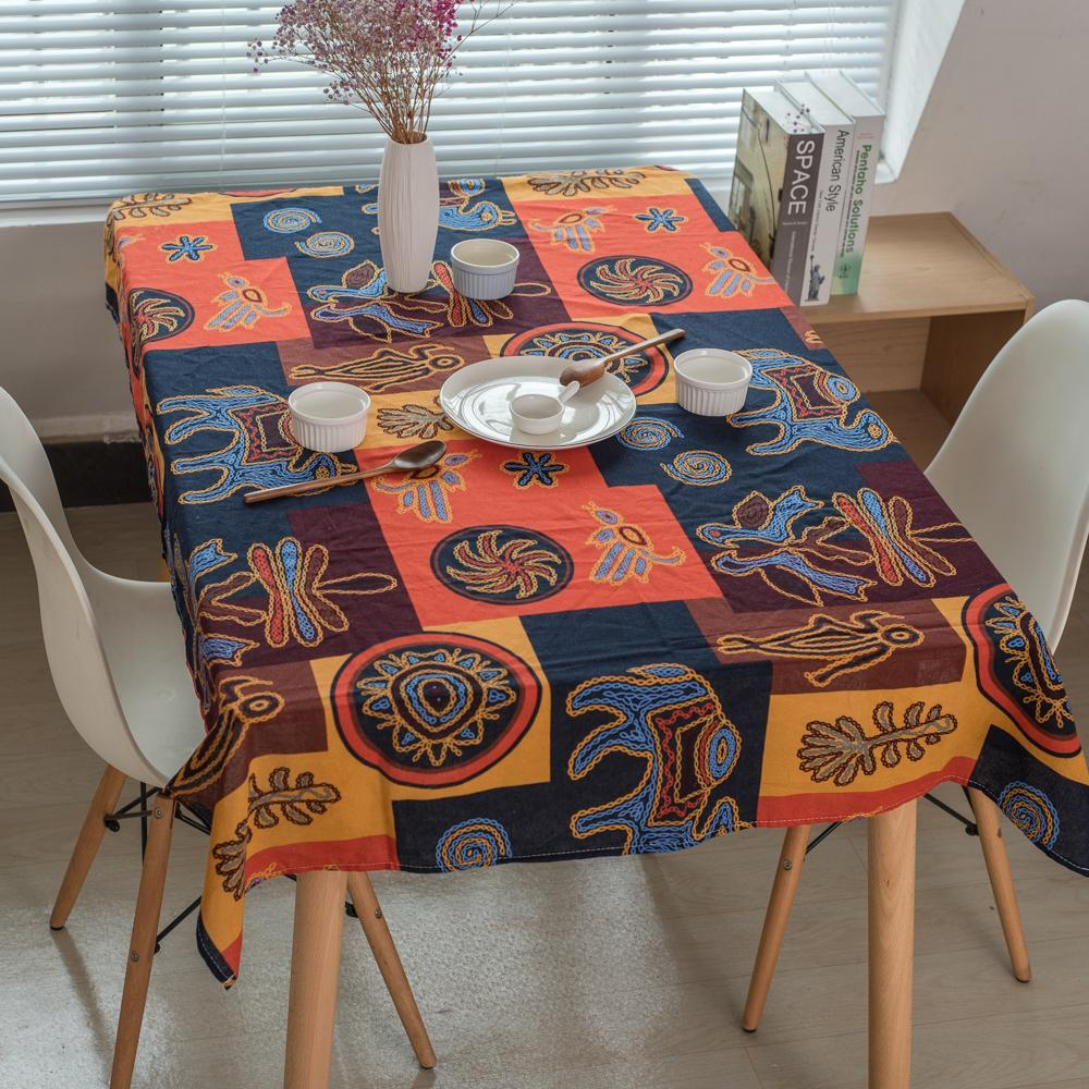PINkart-USA Online Shopping Maya National Style Table Cloth Rectangle Printed Table Covers Dustproof Thick Tablecloths For