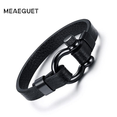 PINkart-USA Online Shopping Meaeguet Black Genuine Leather Bracelet Stainless Steel Screw Post Anchor Shackles Bracelet