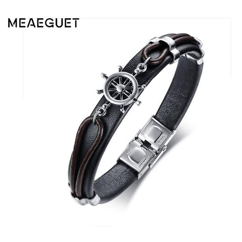 PINkart-USA Online Shopping Meaeguet Handmade Genuine Leather Friendship Bracelet High Polished Stainless Steel Rudder Navy