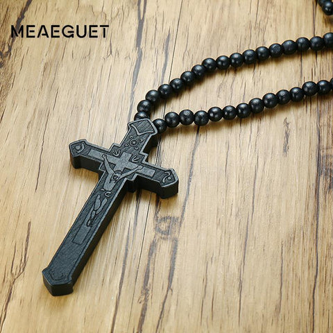 Meaeguet Large Wood Catholic Jesus Cross With Wooden Bead Carved Rosary Pendant Long Collier