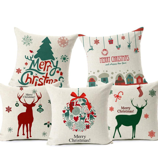 PINkart-USA Online Shopping Merry Christmas! Cushion Cover Let It Snow Deer Xmas Santa Claus Socks Balloon Home Decorative