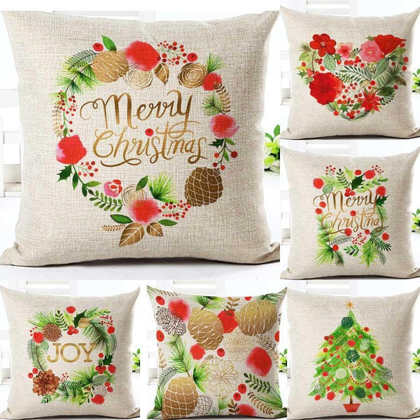 PinKart-USA Online Shopping Merry Christmas Cushion Covers Cotton Linen Printed Decorative Cushion Cover Pattern Throw Pillow