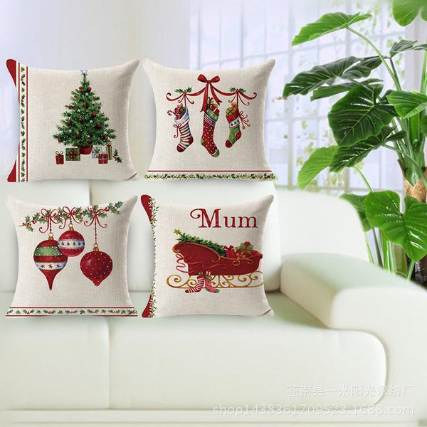 PinKart-USA Online Shopping Merry Christmas Decorations For Home Decorative Throw Pillow Cover Case Green Trees Gift Cushion