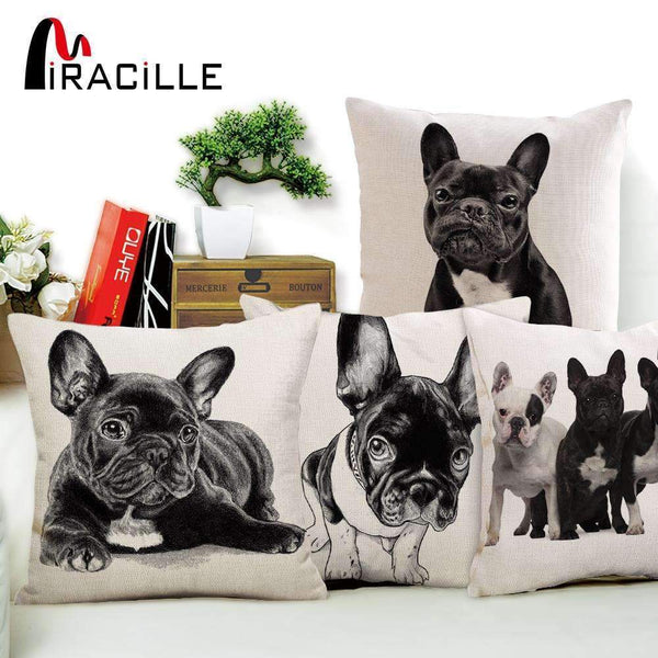 PinKart-USA Online Shopping Miracille 18Cotton Linen French Bulldog Digital Print Square Decorative Throw Pillow Cushions For