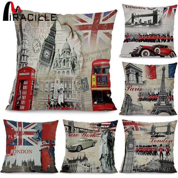 Miracille Fashion European Decorative Cushions London Style Throw Pillows Car Home Decor Cushion