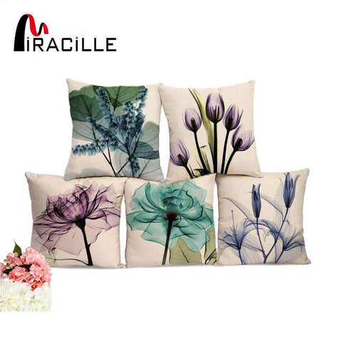 PinKart-USA Online Shopping Miracille Square 18 Cotton Linen Watercolor Flowers Printed Cushions Coffee House Waist Pillows