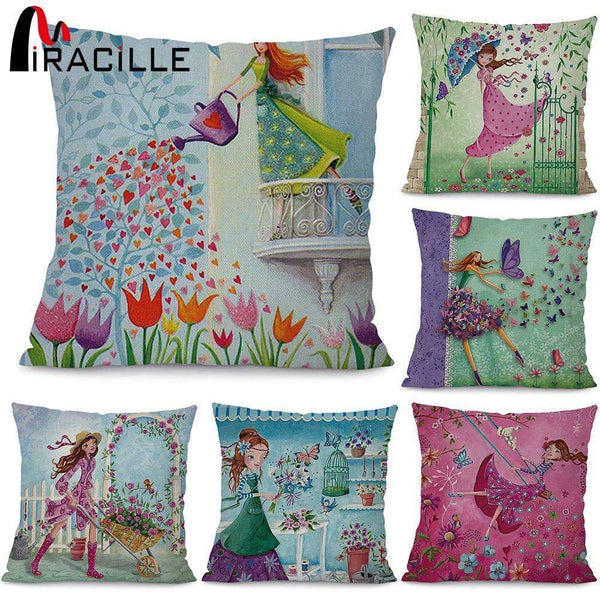 Miracille Square 18 Flowers Girls Printed Cartoon Sofa Throw Cushions Butterfly Living Room