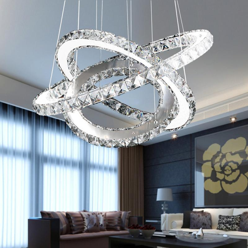 PINkart-USA Online Shopping Modern Chrome Chandelier Crystals Diamond Ring Led Lamp Stainless Steel Hanging Light Fixtures
