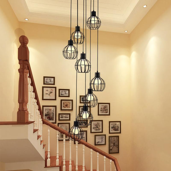 PINkart-USA Online Shopping Modern Simple Staircase Dining Room Chandelier Restaurant Creative Personality Villa Double