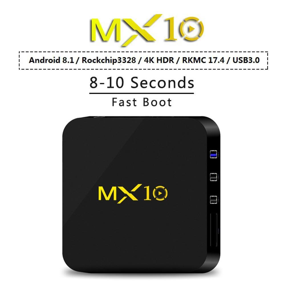 PINkart-USA Online Shopping Mx10 Smart Tv Box Android 8.1 Rk3328 4K Vp9 H.265 Hdr10 Usb3.0 4Gb / 64Gb Dlna Miracast Airplay