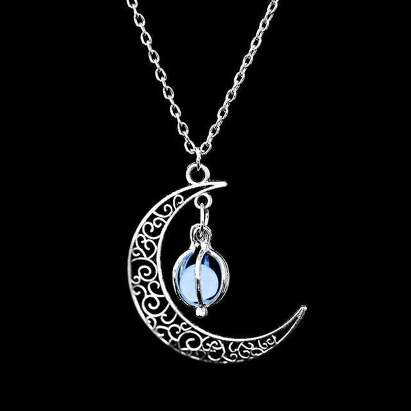 PINkart-USA Online Shopping N173-2 Fashion Silver Charm Luminous Pendant Necklace Women Moon Glowing Stone Necklace Christmas