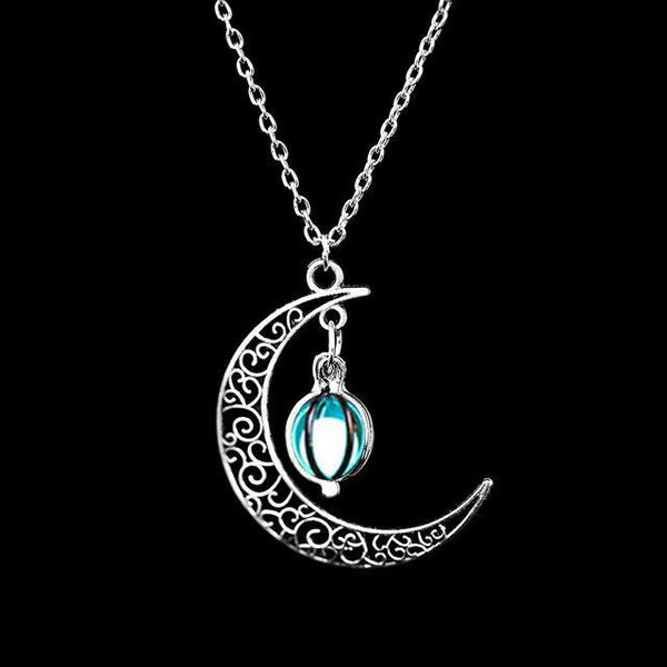 PINkart-USA Online Shopping N173-4 Fashion Silver Charm Luminous Pendant Necklace Women Moon Glowing Stone Necklace Christmas