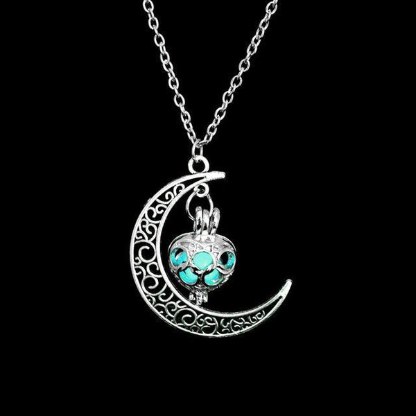PINkart-USA Online Shopping N376-3 Fashion Silver Charm Luminous Pendant Necklace Women Moon Glowing Stone Necklace Christmas